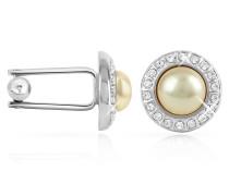 Manschettenknöpfe mit Perlen mit Kristallen umrandet