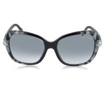 Kochab 876 Damen-Sonnenbrille mit Tierprint aus schwarzem Acetat