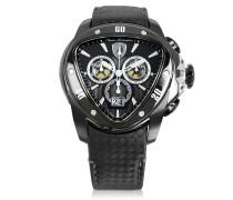 Spyder Chronographenuhr aus schwarzem Edelstahl mit Carbonfaser-Armband