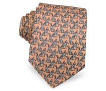 Dogs Print Silk Narrow Tie