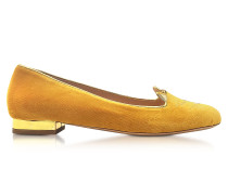 Yellow Velvet Kitty Flats
