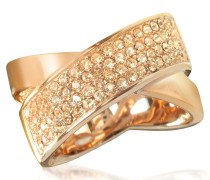 Pave-Crystal Twist Rose Golden Stainless Steel Women's Ring