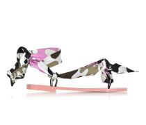 Dark Brown and Peonia Pink Silk Flat Sandals