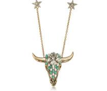 Lange Halskette aus vergoldetem Brass mit Kristallen und Perlen in mintgrün