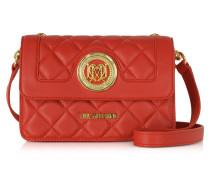 Schultertasche aus gestepptem Textilleder mit Brieftasche in rot