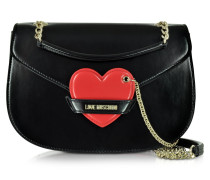 Große Schultertasche mit Herz aus Textilleder in schwarz & rot