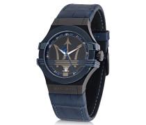 Potenza Blue Herren-Armbanduhr aus Edelstahl mit Lederarmband