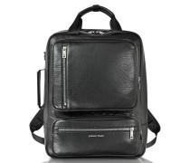 Rucksack aus Textilleder in schwarz