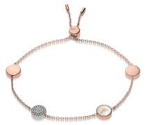 Armband aus Edelstahl in rosegold mit Perlmutt und Kristallen mit Anhängern