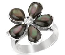 Ring aus 18k Gold mit Blume aus Perlmutt und Diamant