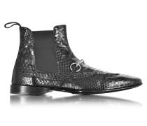 Low Boots aus pythongeprägtem Leder in schwarz