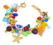 Marilena - Vergoldetes Armband mit Muranoglasanhängern