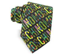 Moschino Signature Print Narrow Krawatte aus Twillseide in schwarz & bunt