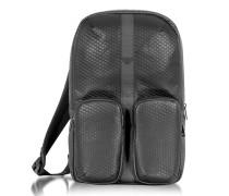 Rucksack aus Carbonfaser und Textilleder in schwarz