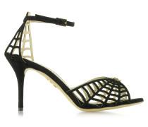 Spinderella D'Orsay Sandale aus schwarzem Wildleder
