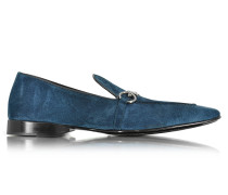 Loafer aus Wildleder in blau