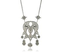 Lange Halskette aus silberfarbenem Brass mit Kristallen
