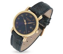 Armbanduhr aus 18k Gold mit krokogeprägtem Lederarmband