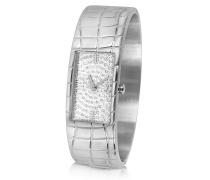 Circum - Grosse Armbanduhr aus Edelstahl mit silbernem Zifferblatt