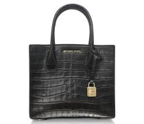 Mercer Medium Black Embossed Croco Leather Crossbody Bag
