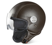 Open Face Motorradhelm aus Leder in dunkelbraun mit Visier