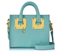 Aqua Albion Saddle Leather Box Tote Bag