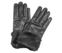 Schwarze Lederhandschuhe aus italienischem Leder  mit Pelz