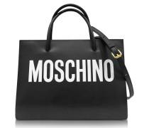 Shopper aus Leder in schwarz & weiß mit Logo