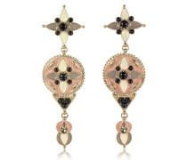 Lange Ohrringe aus Emaille mit bunten Kristallen