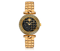 Micro Vanitas PVD Gold Plated Women's Watch w/Baroque Black Dial