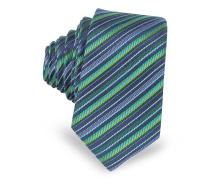 Extra-Narrow Krawatte aus gewobener Seide mit diagonalen Streifen in navyblau und grün