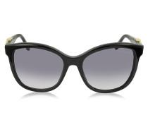 Kraz 8777S 01B Cat Eye Sonnenbrille aus schwarzem Acetat mit goldfarbenen Details