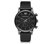 Black Stainless Steel & Leather Men's Watch