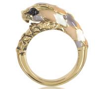Schlangen-Ring aus goldfarbenem Metal und bunter Emaille