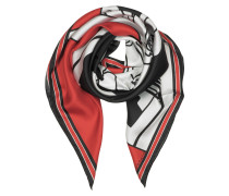 Bambi Print Red Silk Square Scarf