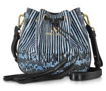 Elaphe Bucket Bucket Handtasche mit Gummizugverschluss aus Schlangenleder in puder-blaue