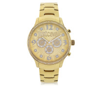 Huge JC 3H Gold Dial Stainless Steel Women's Watch
