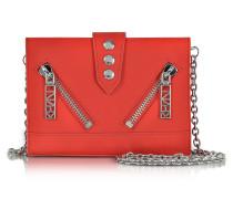 Kalifornia Brieftasche aus gummiertem Leder in rot mit Kettenriemen