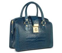 Handtasche im Doktorstyle aus italienischem Leder mit Krokoprägung in blau