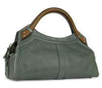 Handtasche aus Leder mit Holzgriffen