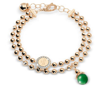 Boulevard Stone Yellow Gold Over Bronze Double Beadball Chain Bracelet w/Hydrothermal Green Stone
