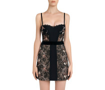 Hampton Court Black Silk Georgette and Embroidered Leavers Lace Corset Dress