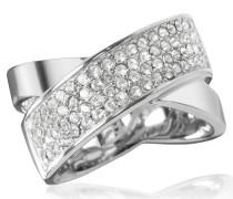 Damenring aus Edelstahl in silber mit Kristallen besetzt