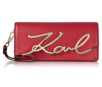 Cherry Red Leather K/Signature Clutch