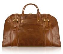 Handgearbeitete Reisetasche aus echtem italienischem Leder in braun