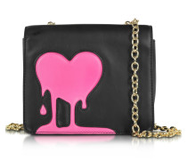 Melting Love Black & Pink Eco Leather Crossbody Bag