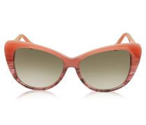 BA0016 44F Damen-Sonnenbrille mit Streifen und Cat Eye