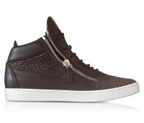 High Top Sneaker für Herren aus Leder in dunkelbraun mit Echsenprint