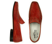 Halbschuhe von Hand gefertigt aus italienischem Leder in rot