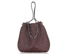 Roxy Ball Stud Beet Leather Hobo Bag